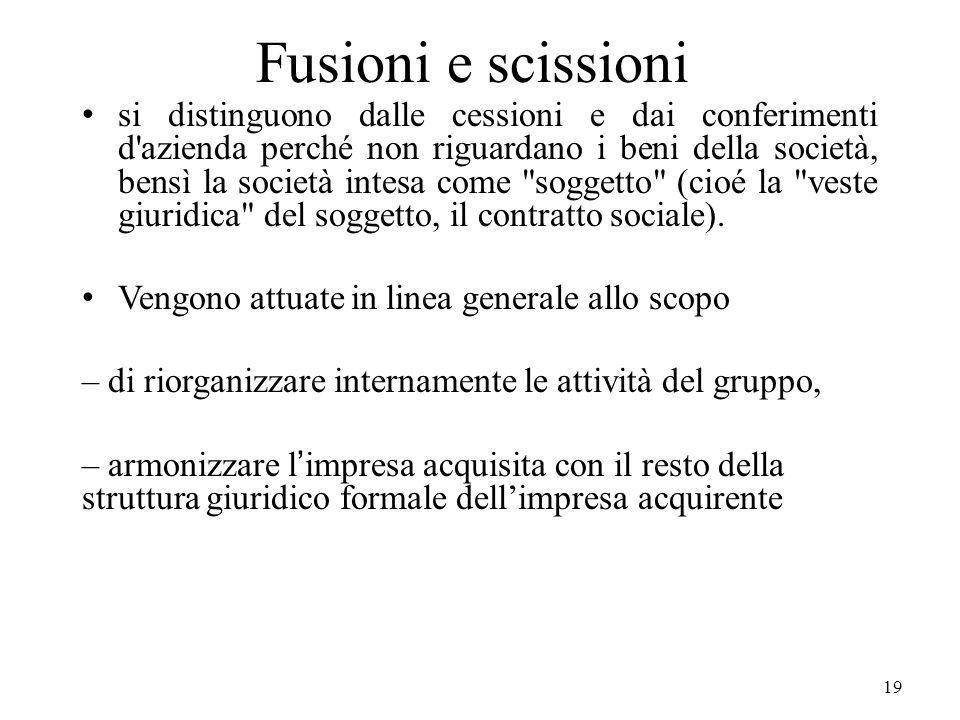 19 Fusioni e scissioni si distinguono dalle cessioni e dai conferimenti d'azienda perché non riguardano i beni della società, bensì la società intesa