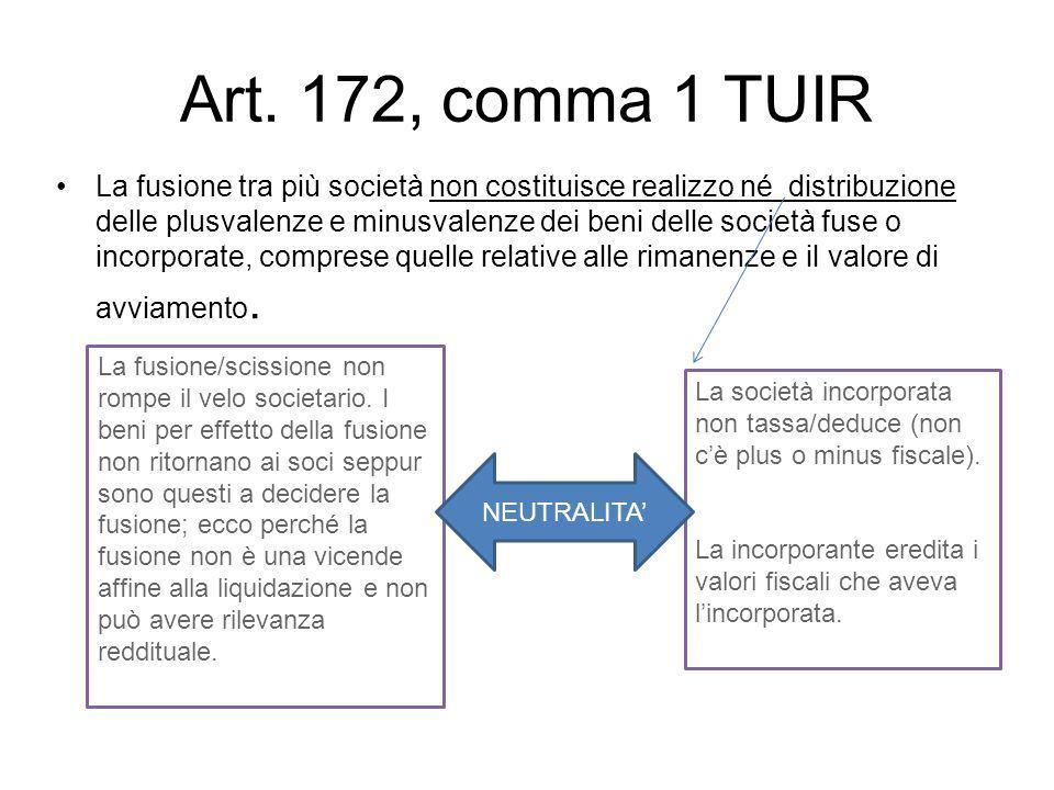 Art. 172, comma 1 TUIR La fusione tra più società non costituisce realizzo né distribuzione delle plusvalenze e minusvalenze dei beni delle società fu