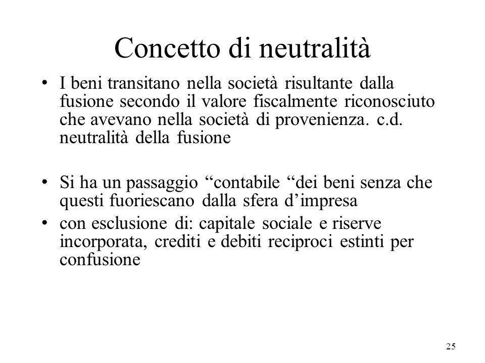 25 Concetto di neutralità I beni transitano nella società risultante dalla fusione secondo il valore fiscalmente riconosciuto che avevano nella societ