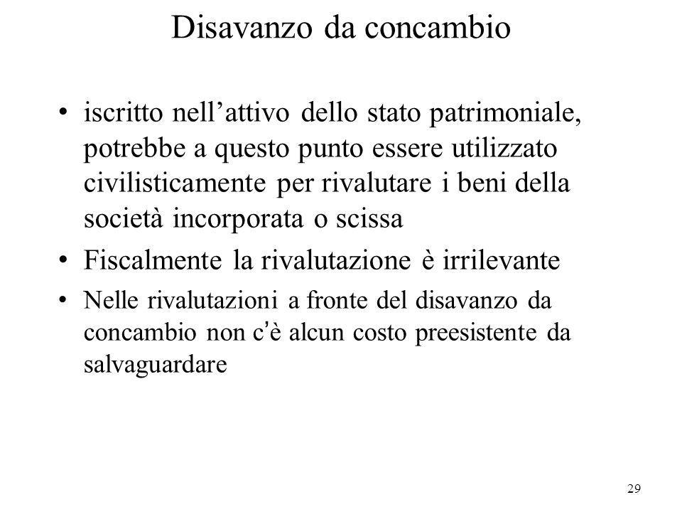 29 Disavanzo da concambio iscritto nellattivo dello stato patrimoniale, potrebbe a questo punto essere utilizzato civilisticamente per rivalutare i be