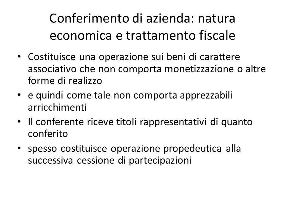 Conferimento di azienda: natura economica e trattamento fiscale Costituisce una operazione sui beni di carattere associativo che non comporta monetizz