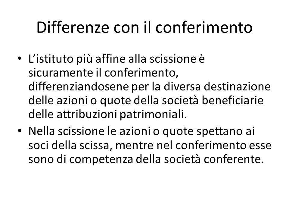 Differenze con il conferimento Listituto più affine alla scissione è sicuramente il conferimento, differenziandosene per la diversa destinazione delle