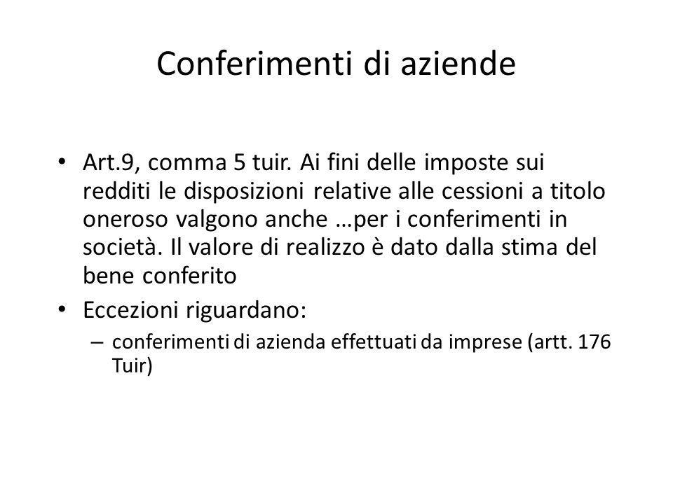 Conferimenti di aziende Art.9, comma 5 tuir. Ai fini delle imposte sui redditi le disposizioni relative alle cessioni a titolo oneroso valgono anche …