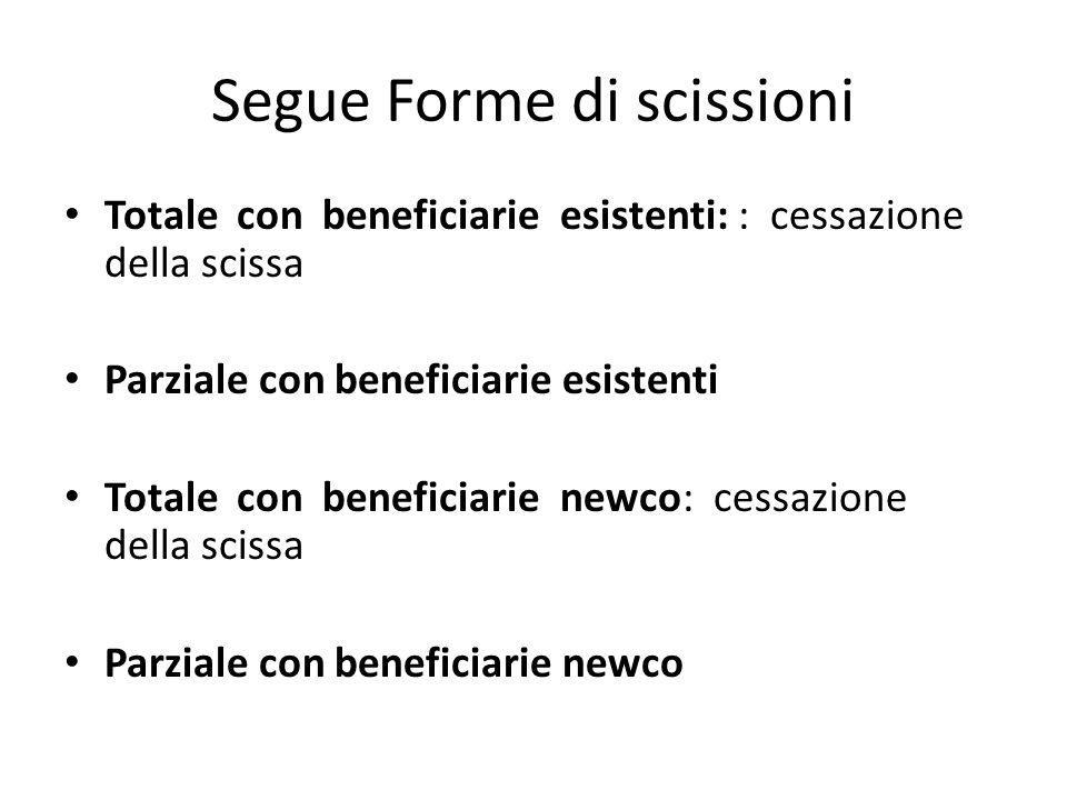 Segue Forme di scissioni Totale con beneficiarie esistenti: : cessazione della scissa Parziale con beneficiarie esistenti Totale con beneficiarie newc