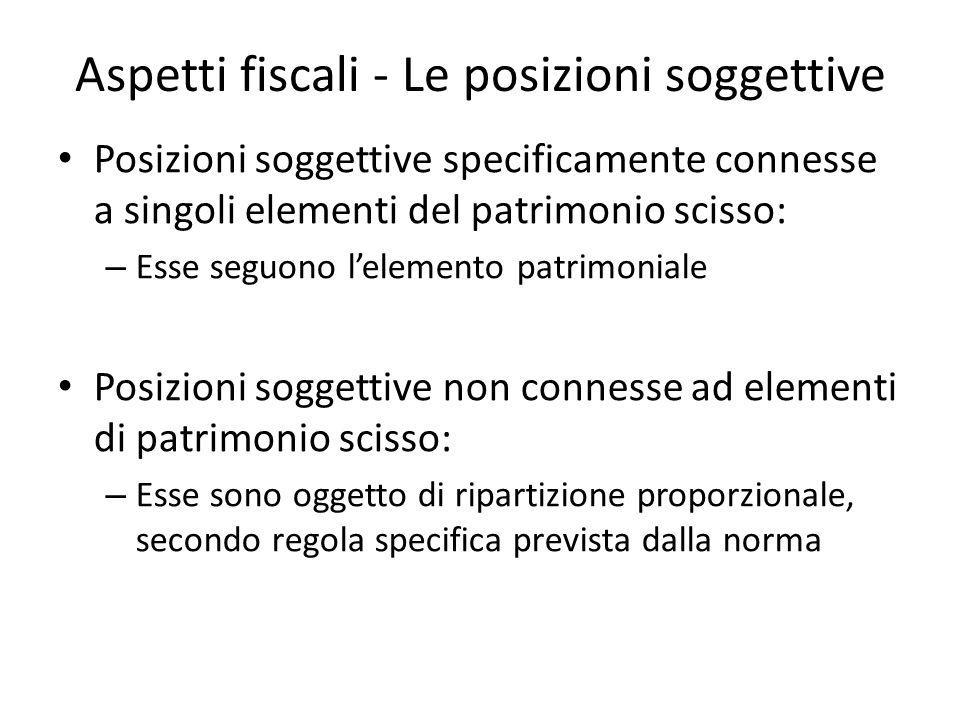 Aspetti fiscali - Le posizioni soggettive Posizioni soggettive specificamente connesse a singoli elementi del patrimonio scisso: – Esse seguono leleme