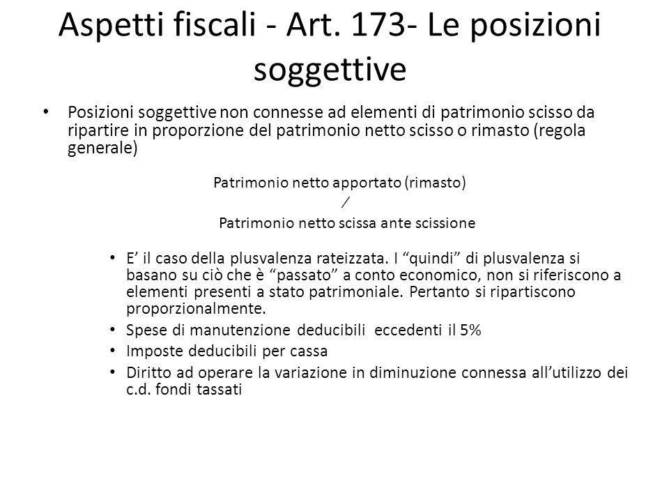 Aspetti fiscali - Art. 173- Le posizioni soggettive Posizioni soggettive non connesse ad elementi di patrimonio scisso da ripartire in proporzione del
