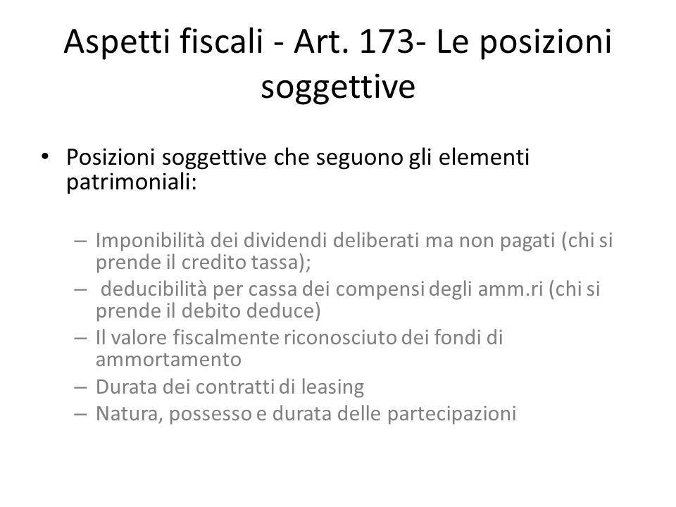 Aspetti fiscali - Art. 173- Le posizioni soggettive Posizioni soggettive che seguono gli elementi patrimoniali: – Imponibilità dei dividendi deliberat