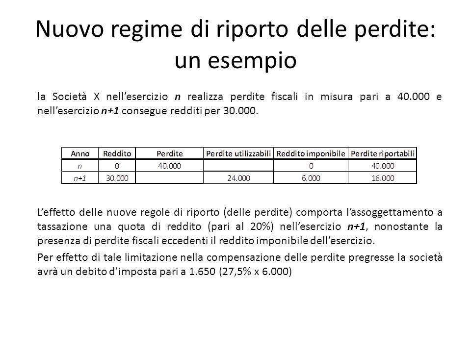 Nuovo regime di riporto delle perdite: un esempio la Società X nellesercizio n realizza perdite fiscali in misura pari a 40.000 e nellesercizio n+1 co