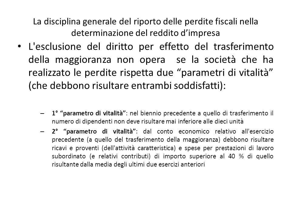 La disciplina generale del riporto delle perdite fiscali nella determinazione del reddito dimpresa L'esclusione del diritto per effetto del trasferime