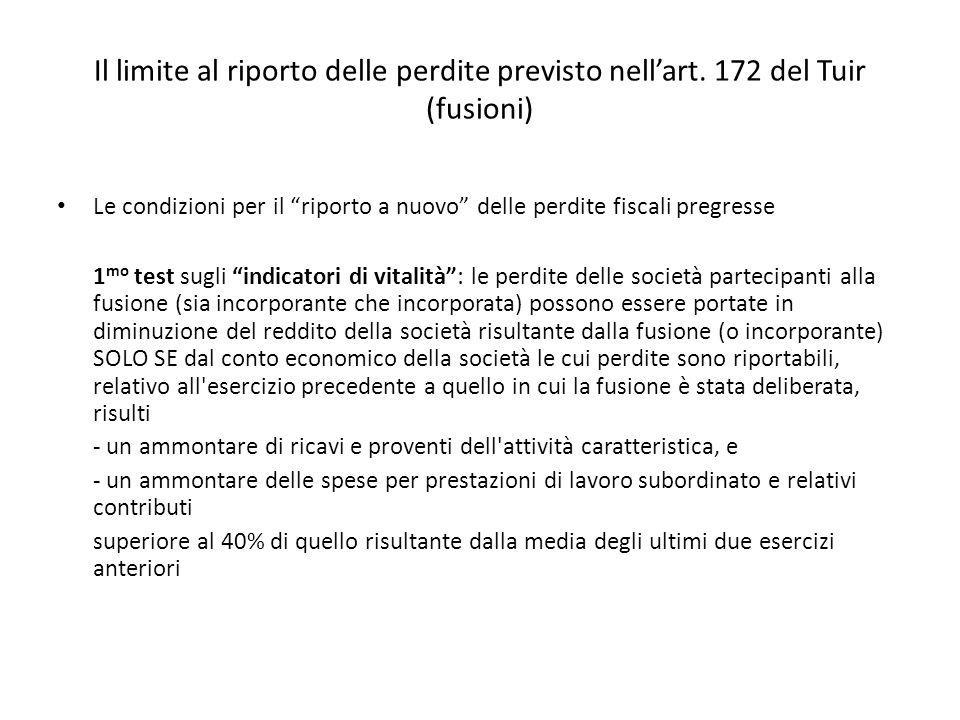 Il limite al riporto delle perdite previsto nellart. 172 del Tuir (fusioni) Le condizioni per il riporto a nuovo delle perdite fiscali pregresse 1 mo