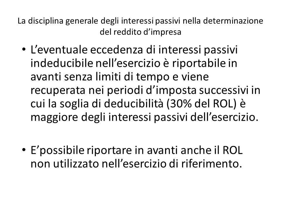 La disciplina generale degli interessi passivi nella determinazione del reddito dimpresa Leventuale eccedenza di interessi passivi indeducibile nelles