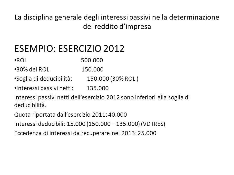 La disciplina generale degli interessi passivi nella determinazione del reddito dimpresa ESEMPIO: ESERCIZIO 2012 ROL 500.000 30% del ROL 150.000 Sogli