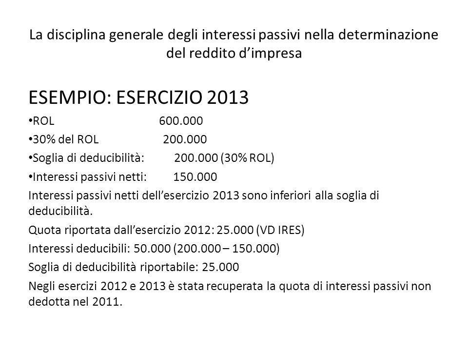 La disciplina generale degli interessi passivi nella determinazione del reddito dimpresa ESEMPIO: ESERCIZIO 2013 ROL 600.000 30% del ROL 200.000 Sogli