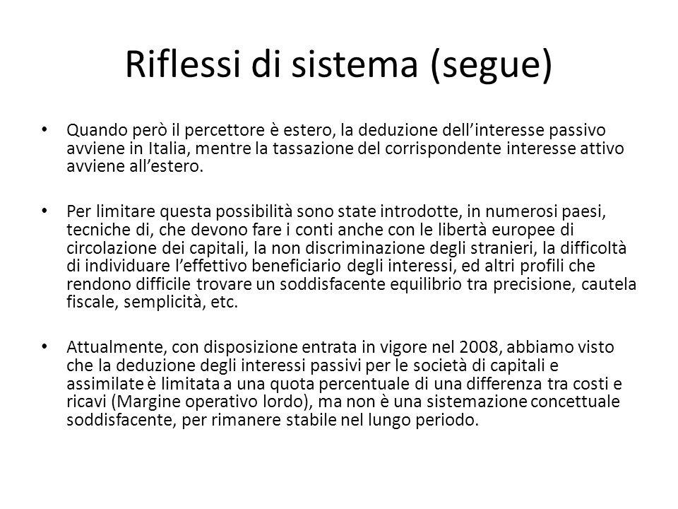 Riflessi di sistema (segue) Quando però il percettore è estero, la deduzione dellinteresse passivo avviene in Italia, mentre la tassazione del corrisp