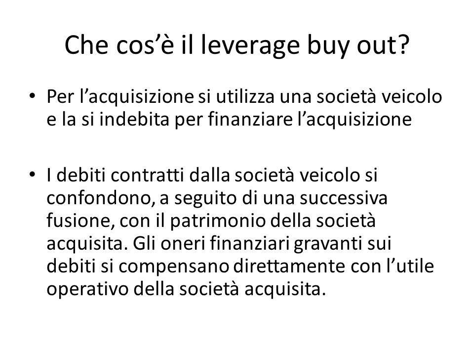 Che cosè il leverage buy out? Per lacquisizione si utilizza una società veicolo e la si indebita per finanziare lacquisizione I debiti contratti dalla