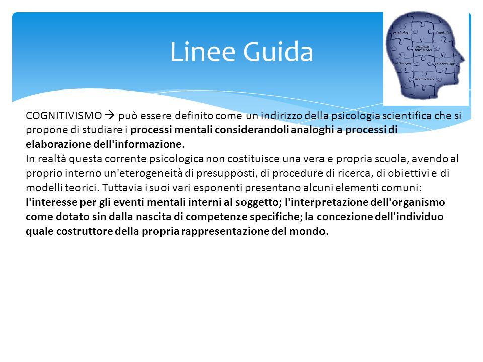 Linee Guida COGNITIVISMO può essere definito come un indirizzo della psicologia scientifica che si propone di studiare i processi mentali considerando