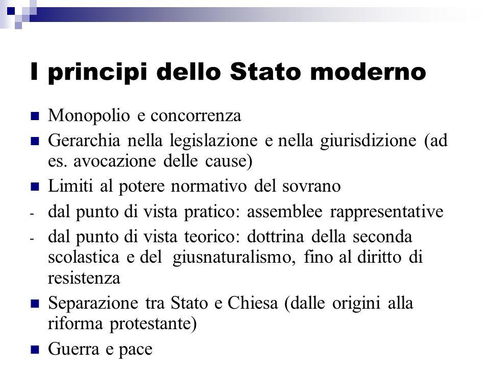 I principi dello Stato moderno Monopolio e concorrenza Gerarchia nella legislazione e nella giurisdizione (ad es. avocazione delle cause) Limiti al po