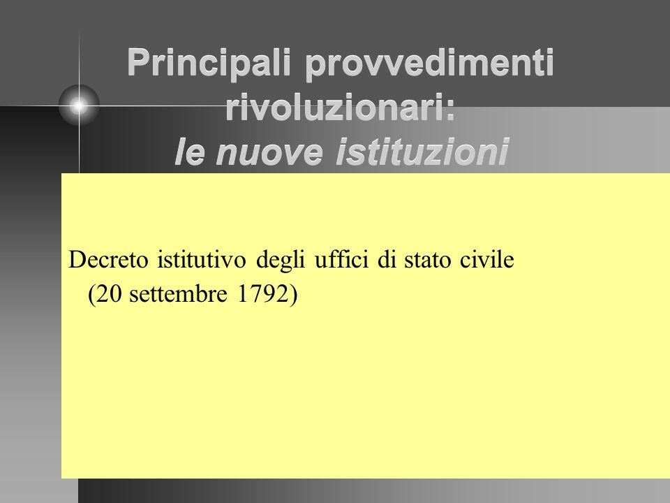 Principali provvedimenti rivoluzionari: le nuove istituzioni Decreto istitutivo degli uffici di stato civile (20 settembre 1792)