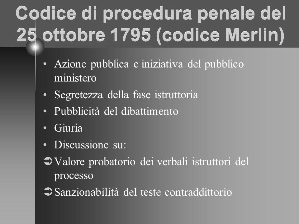 Codice di procedura penale del 25 ottobre 1795 (codice Merlin) Azione pubblica e iniziativa del pubblico ministero Segretezza della fase istruttoria Pubblicità del dibattimento Giuria Discussione su: Valore probatorio dei verbali istruttori del processo Sanzionabilità del teste contraddittorio