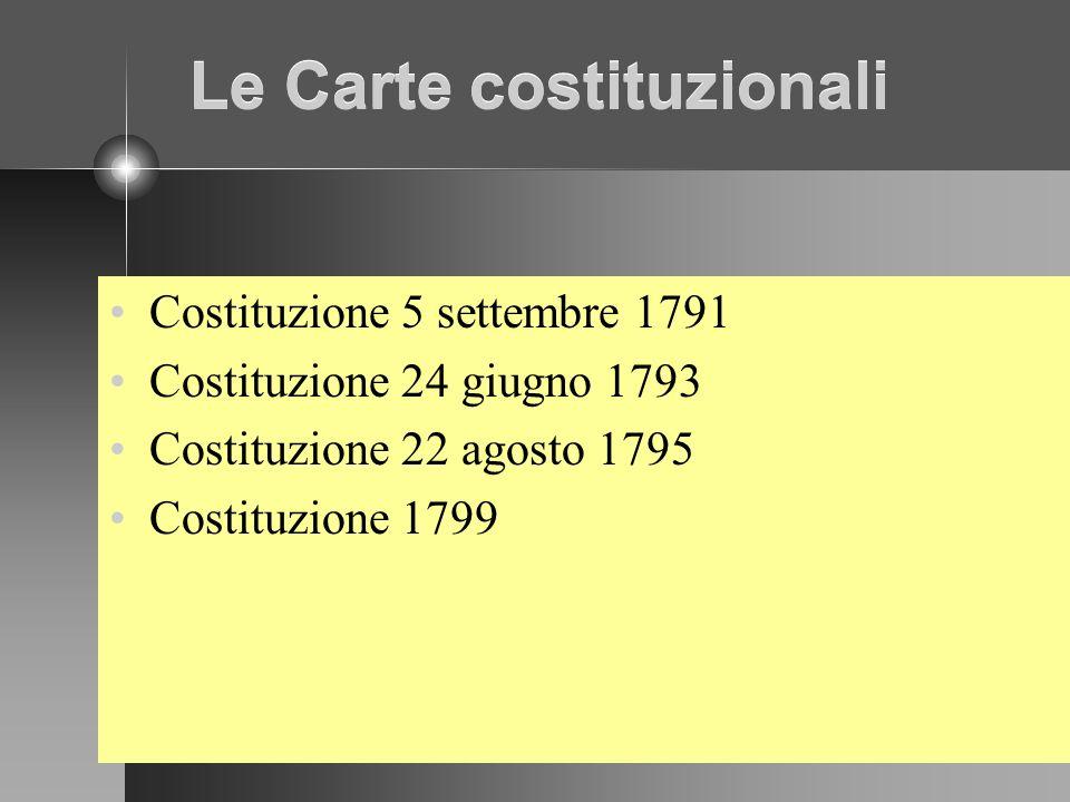 Le Carte costituzionali Costituzione 5 settembre 1791 Costituzione 24 giugno 1793 Costituzione 22 agosto 1795 Costituzione 1799