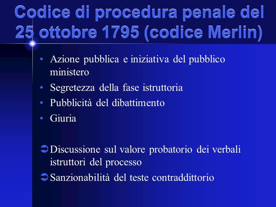 Codice di procedura penale del 25 ottobre 1795 (codice Merlin) Azione pubblica e iniziativa del pubblico ministero Segretezza della fase istruttoria Pubblicità del dibattimento Giuria Discussione sul valore probatorio dei verbali istruttori del processo Sanzionabilità del teste contraddittorio