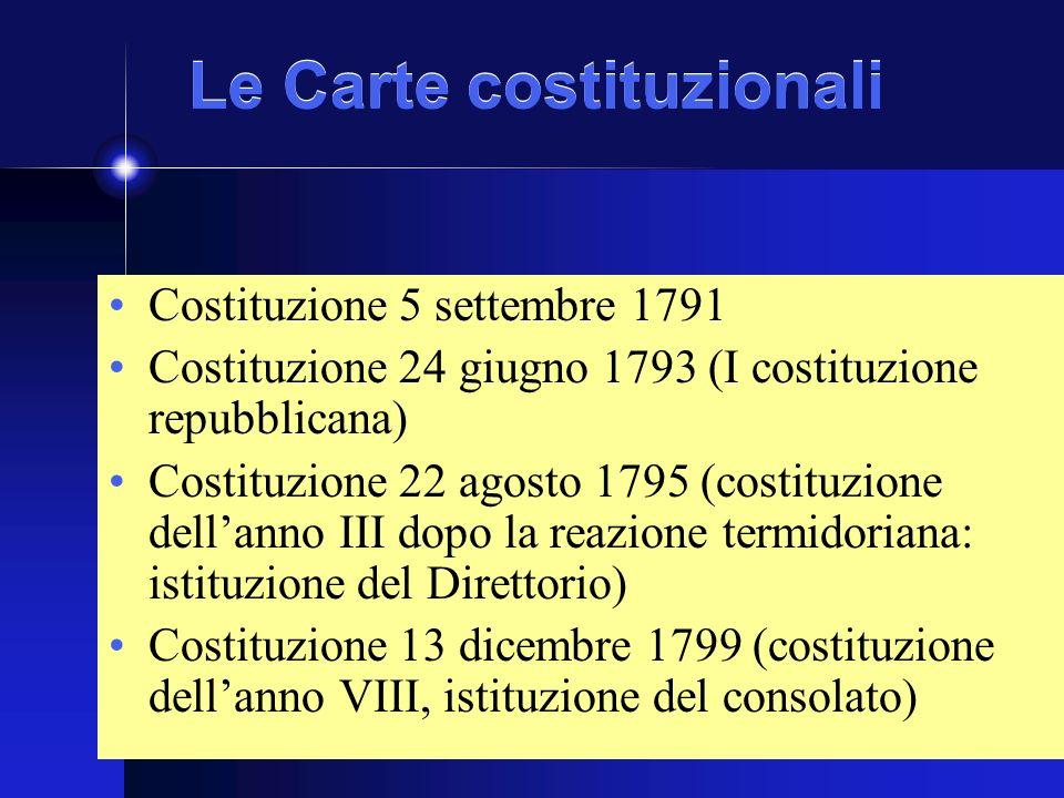 Le Carte costituzionali Costituzione 5 settembre 1791 Costituzione 24 giugno 1793 (I costituzione repubblicana) Costituzione 22 agosto 1795 (costituzione dellanno III dopo la reazione termidoriana: istituzione del Direttorio) Costituzione 13 dicembre 1799 (costituzione dellanno VIII, istituzione del consolato)
