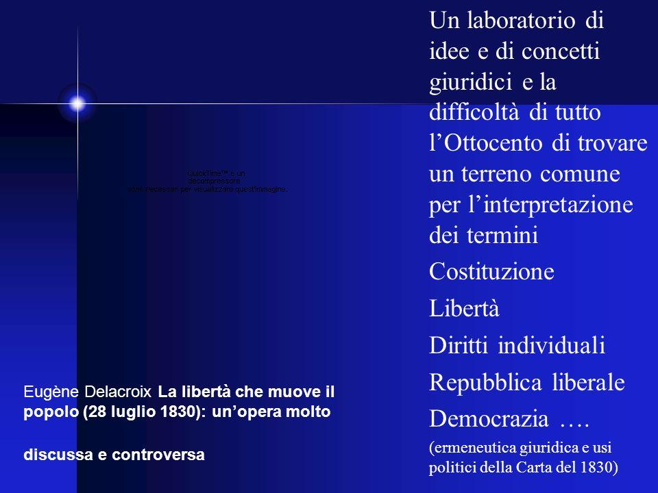 Un laboratorio di idee e di concetti giuridici e la difficoltà di tutto lOttocento di trovare un terreno comune per linterpretazione dei termini Costituzione Libertà Diritti individuali Repubblica liberale Democrazia ….