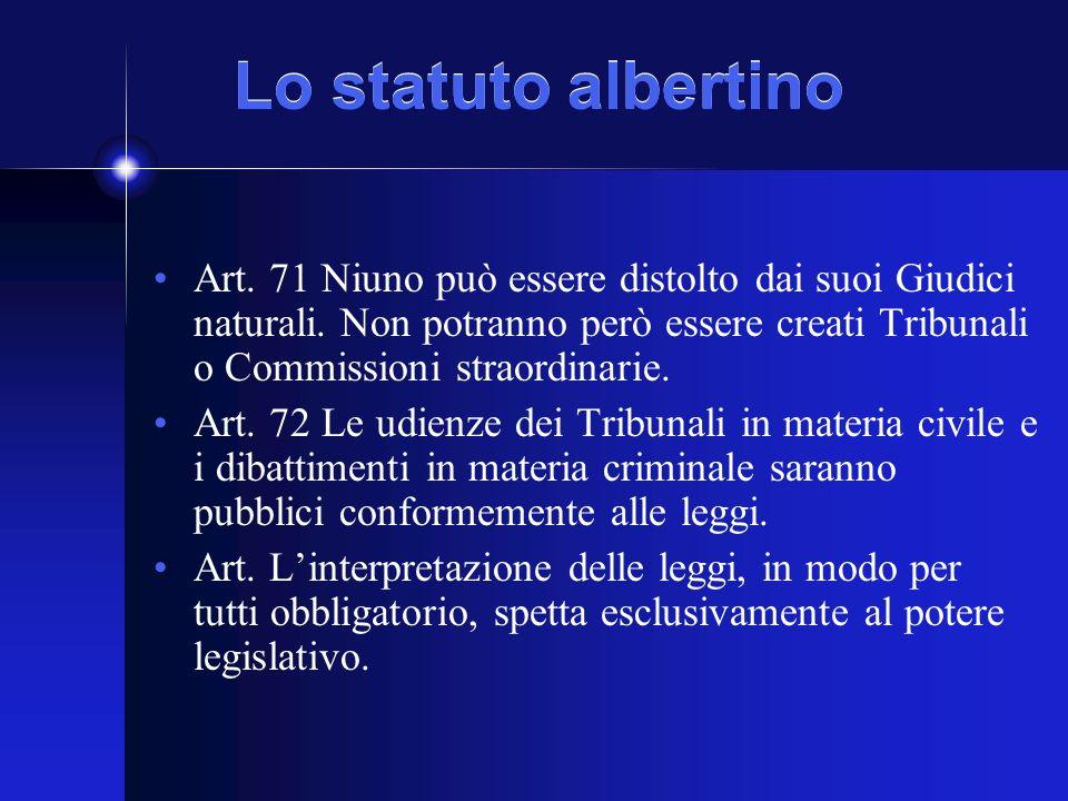 Lo statuto albertino Art. 71 Niuno può essere distolto dai suoi Giudici naturali.