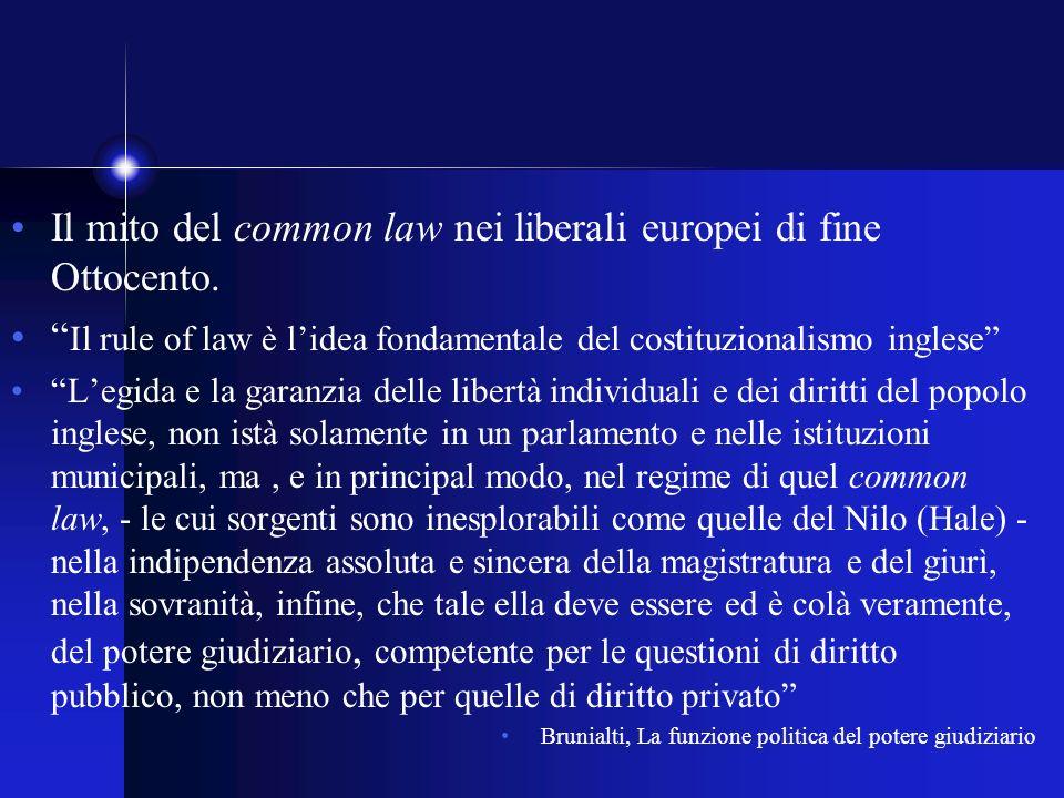 Il mito del common law nei liberali europei di fine Ottocento.