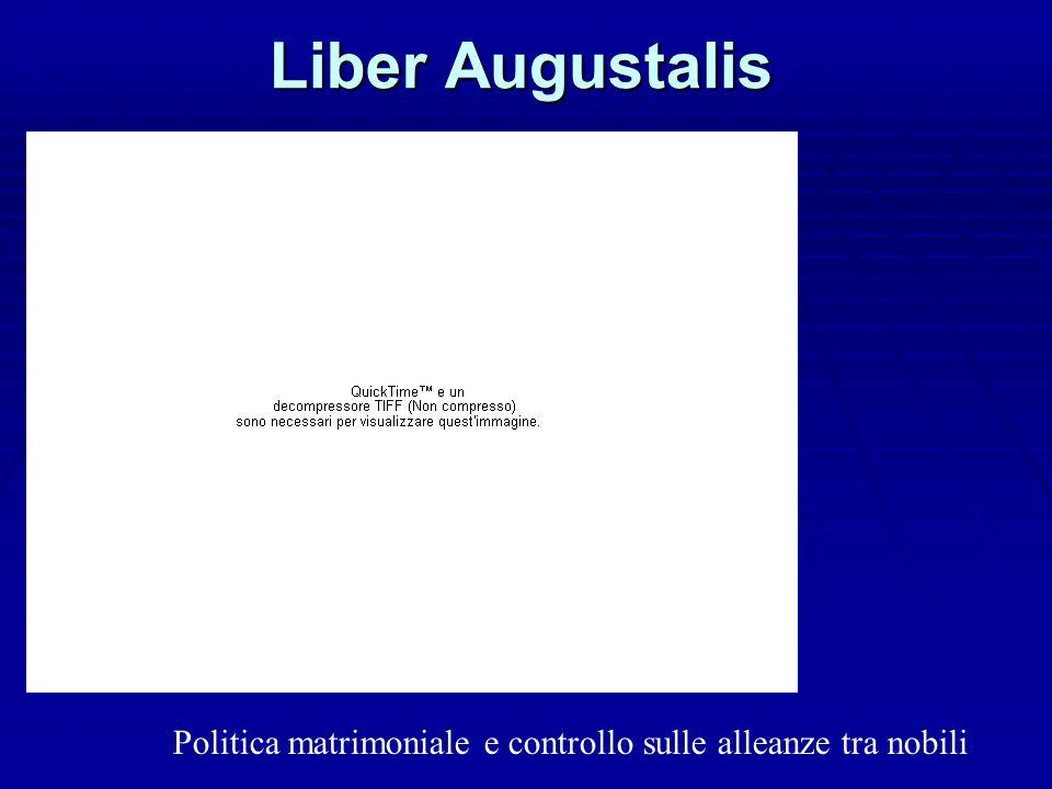 Liber Augustalis co co Politica matrimoniale e controllo sulle alleanze tra nobili