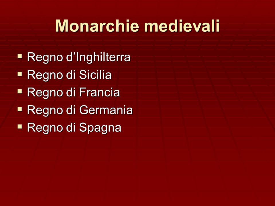 Monarchie medievali Regno dInghilterra Regno dInghilterra Regno di Sicilia Regno di Sicilia Regno di Francia Regno di Francia Regno di Germania Regno di Germania Regno di Spagna Regno di Spagna