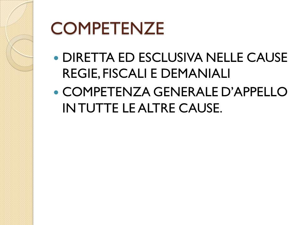 COMPETENZE DIRETTA ED ESCLUSIVA NELLE CAUSE REGIE, FISCALI E DEMANIALI COMPETENZA GENERALE DAPPELLO IN TUTTE LE ALTRE CAUSE.