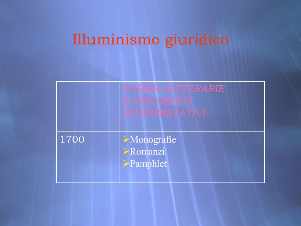 Illuminismo giuridico FORME LETTERARIE E STRUMENTI INTERPRETATIVI 1700 Monografie Romanzi Pamphlet