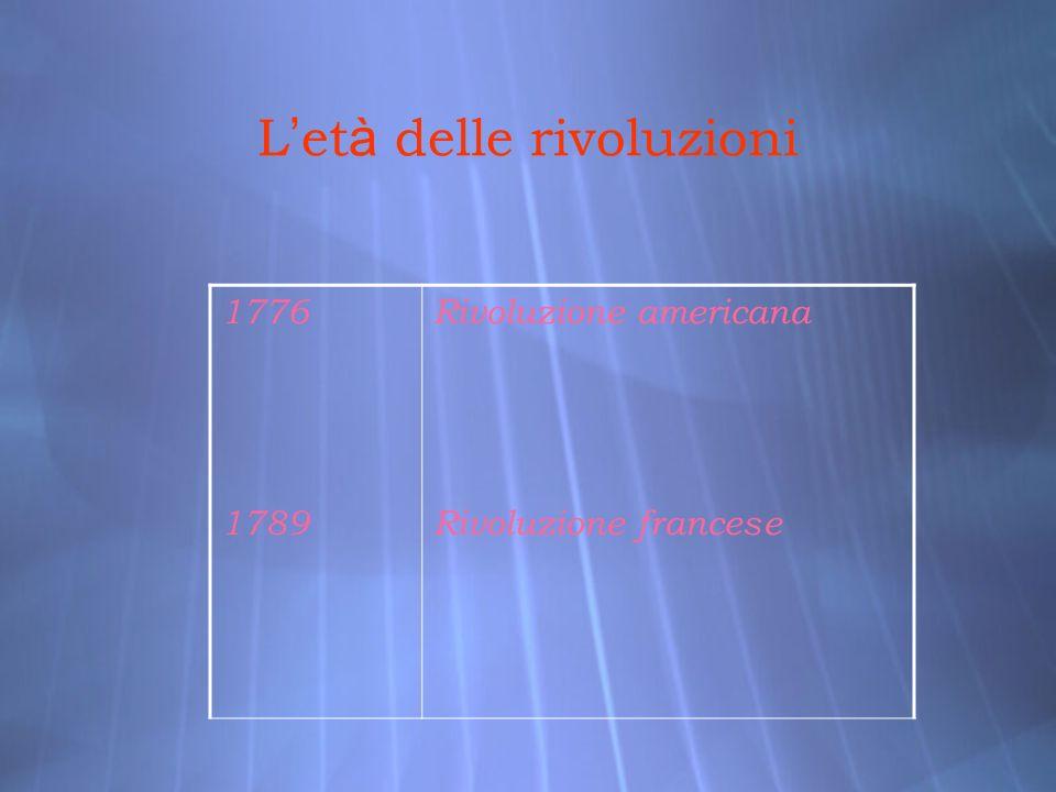 L et à delle rivoluzioni 1776 1789 Rivoluzione americana Rivoluzione francese