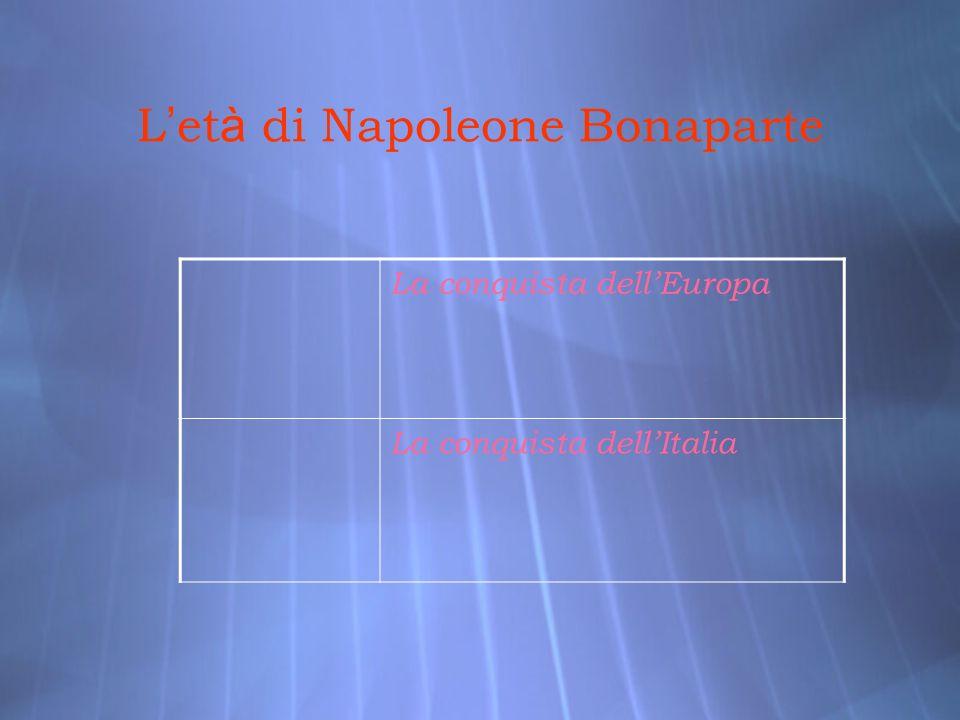 L et à di Napoleone Bonaparte La conquista dellEuropa La conquista dellItalia