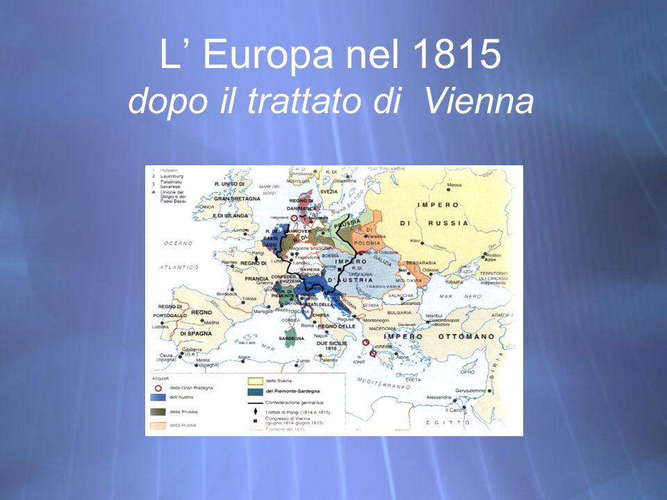 L Europa nel 1815 dopo il trattato di Vienna