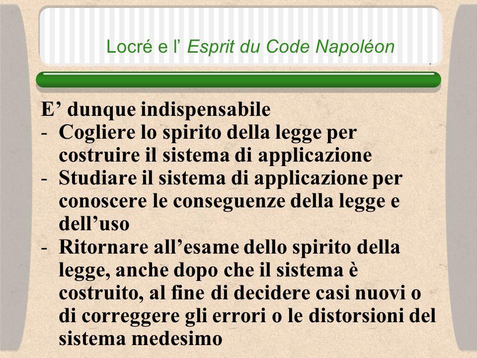 Locré e l Esprit du Code Napoléon diversamente La costruzione di sistema contrario allo spirito della legge finisce per diventare una forma di legislazione sussidiaria e alla lunga finisce per sostituirsi alla legge medesima (D.