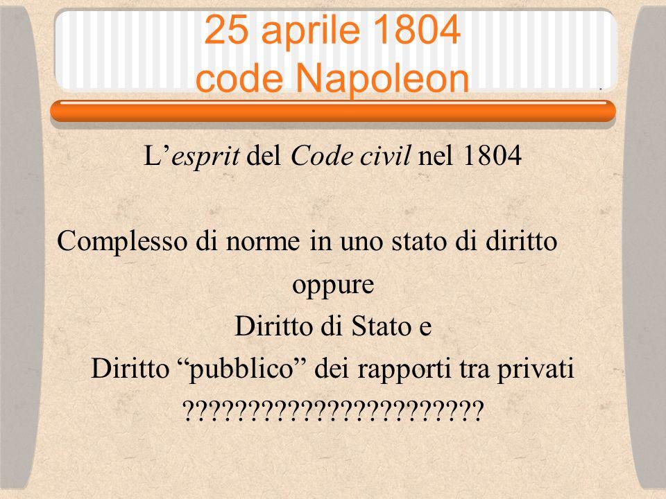25 aprile 1804 code Napoleon Lesprit del Code civil nel 1804 Esaltazione della libertà della società civile, inno allindividuo, individualismo liberale oppure Strumento al servizio del potere pubblico in unottica dirigistica e accentratrice ????????