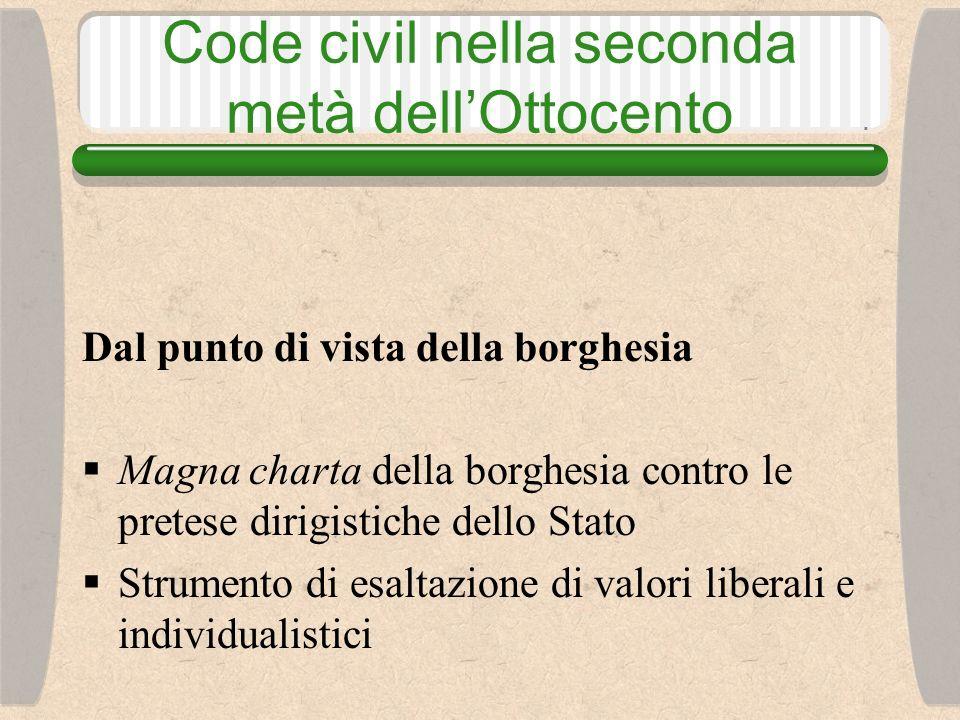 Code civil nella seconda metà dellOttocento Dal punto di vista della borghesia Magna charta della borghesia contro le pretese dirigistiche dello Stato Strumento di esaltazione di valori liberali e individualistici