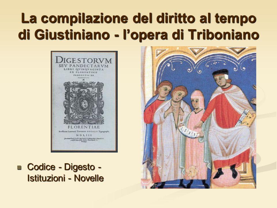 La compilazione del diritto al tempo di Giustiniano - lopera di Triboniano Codice - Digesto - Istituzioni - Novelle