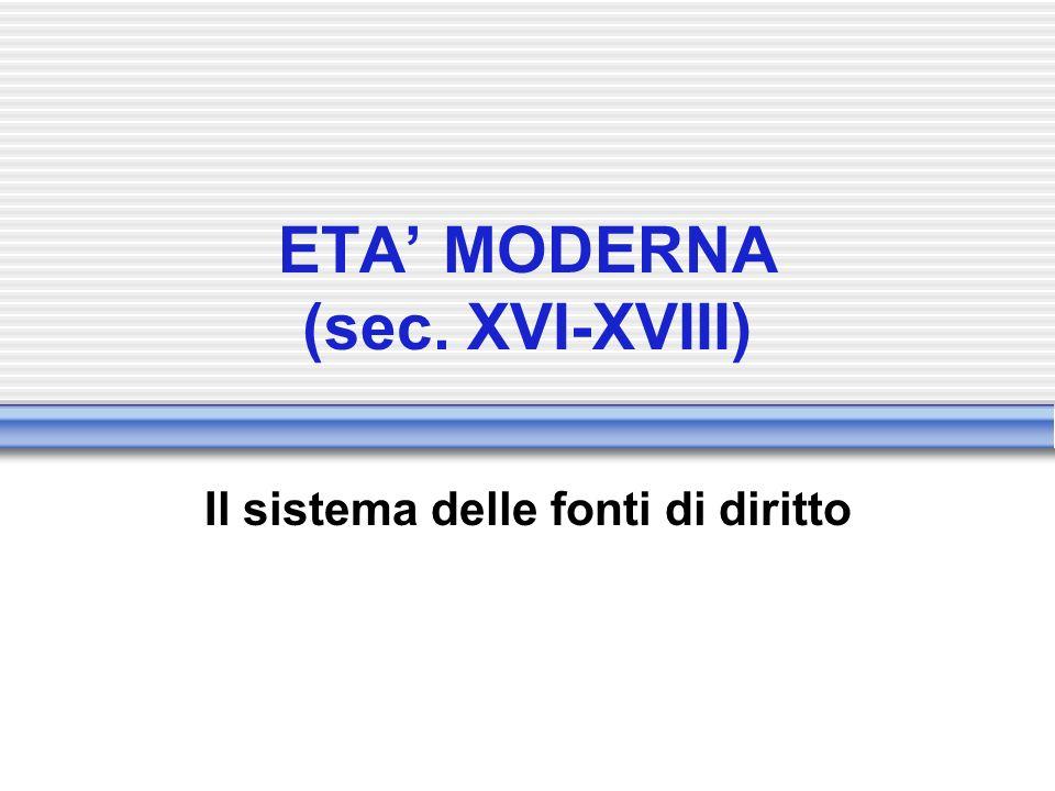 ETA MODERNA (sec. XVI-XVIII) Il sistema delle fonti di diritto