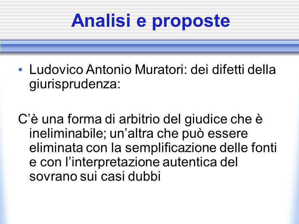 Analisi e proposte Ludovico Antonio Muratori: dei difetti della giurisprudenza: Cè una forma di arbitrio del giudice che è ineliminabile; unaltra che