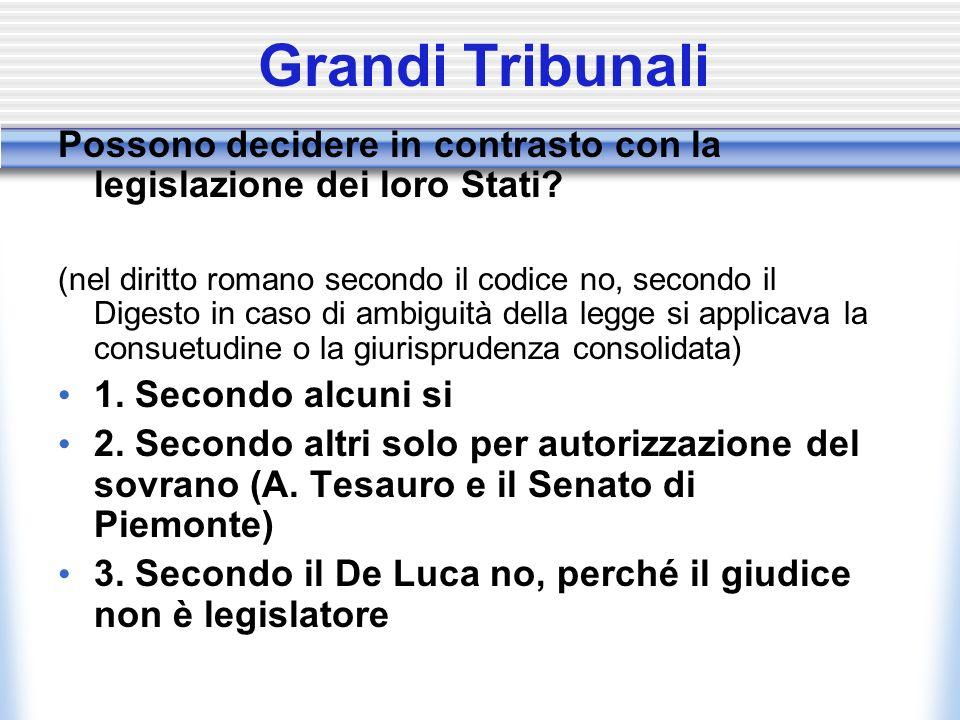 Grandi Tribunali Possono decidere in contrasto con la legislazione dei loro Stati? (nel diritto romano secondo il codice no, secondo il Digesto in cas