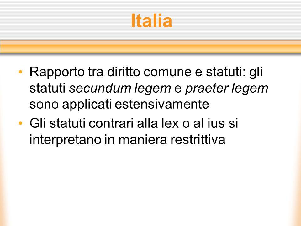 Italia Rapporto tra diritto comune e statuti: gli statuti secundum legem e praeter legem sono applicati estensivamente Gli statuti contrari alla lex o