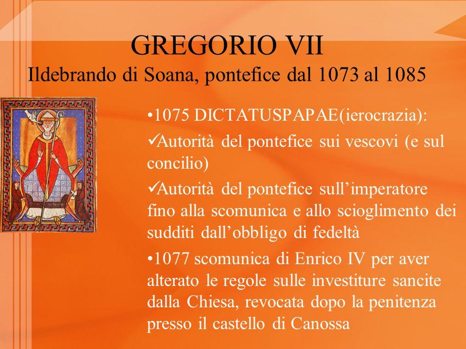 GREGORIO VII Ildebrando di Soana, pontefice dal 1073 al 1085 1075 DICTATUSPAPAE(ierocrazia): Autorità del pontefice sui vescovi (e sul concilio) Autor