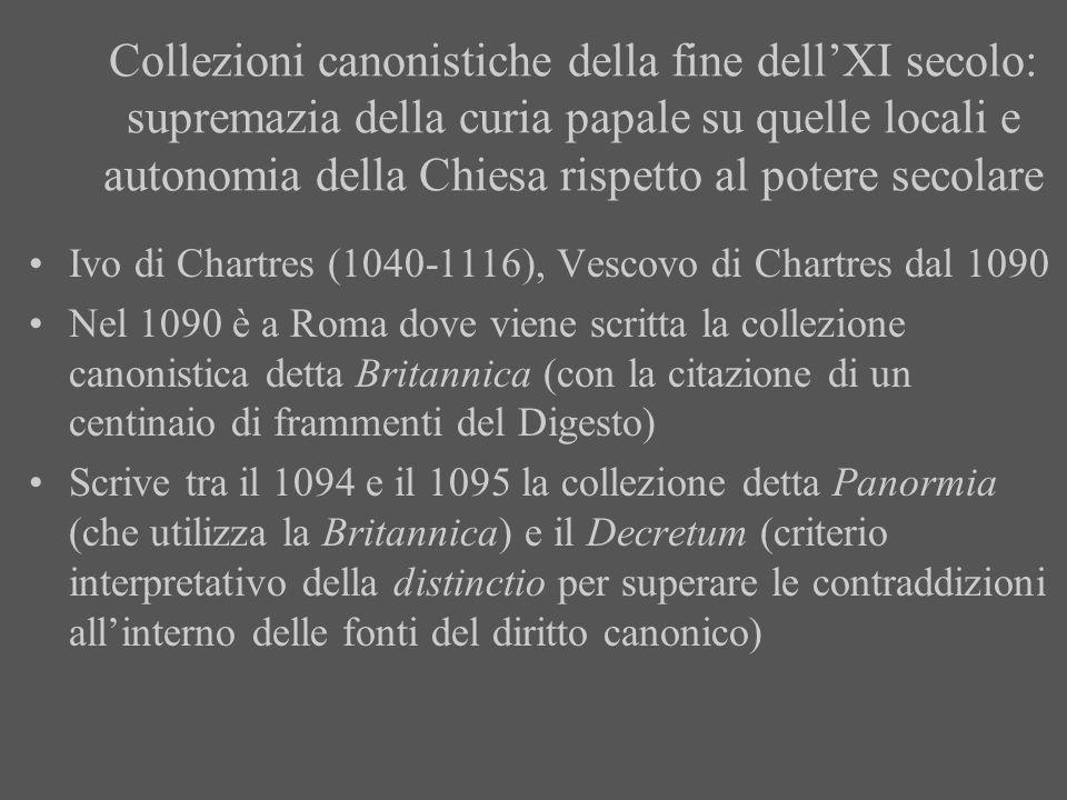 Collezioni canonistiche della fine dellXI secolo: supremazia della curia papale su quelle locali e autonomia della Chiesa rispetto al potere secolare