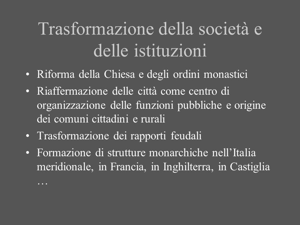 Trasformazione della società e delle istituzioni Riforma della Chiesa e degli ordini monastici Riaffermazione delle città come centro di organizzazion