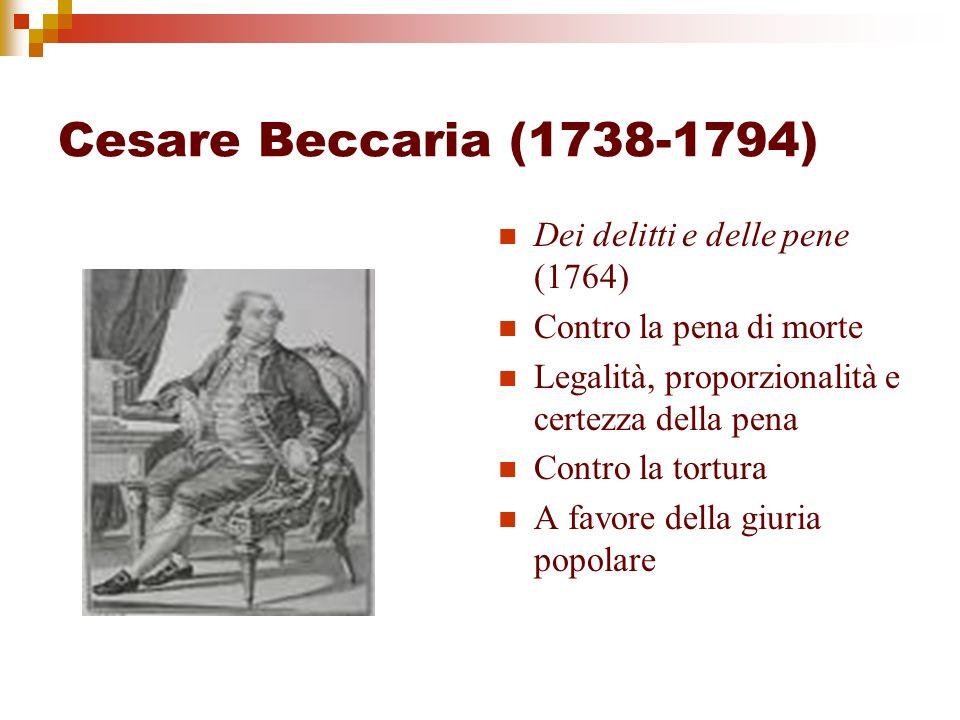 Cesare Beccaria (1738-1794) Dei delitti e delle pene (1764) Contro la pena di morte Legalità, proporzionalità e certezza della pena Contro la tortura