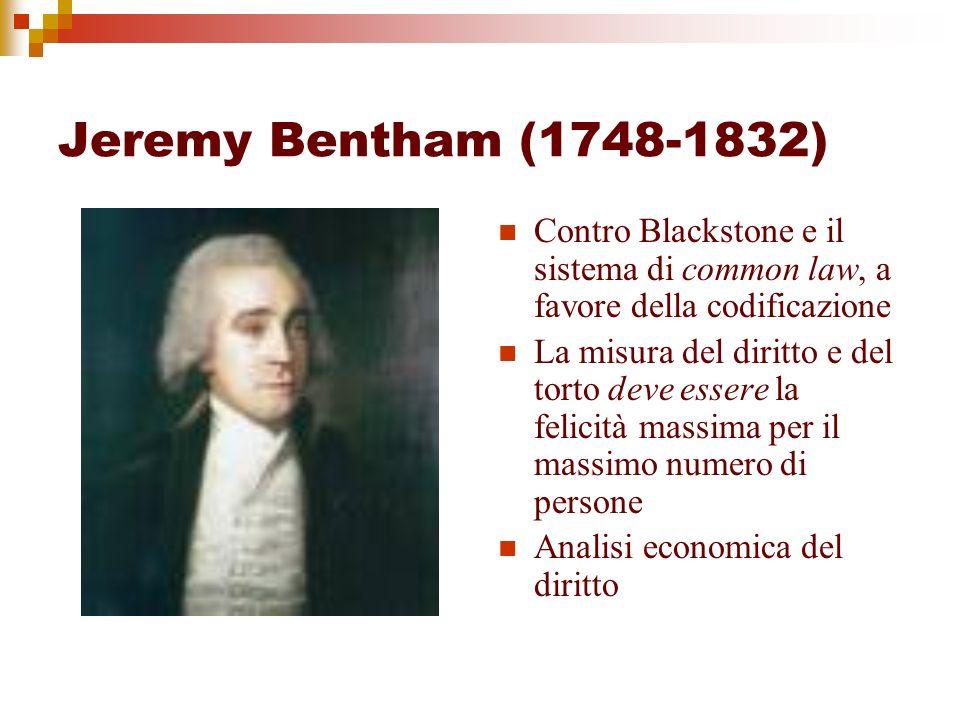 Jeremy Bentham (1748-1832) Contro Blackstone e il sistema di common law, a favore della codificazione La misura del diritto e del torto deve essere la