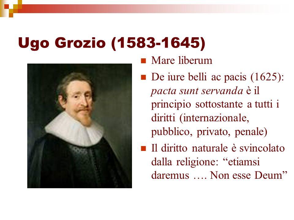 Ugo Grozio (1583-1645) Mare liberum De iure belli ac pacis (1625): pacta sunt servanda è il principio sottostante a tutti i diritti (internazionale, p